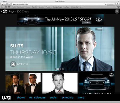 USA Network's Suits Home Page.  (PRNewsFoto/USA Network)