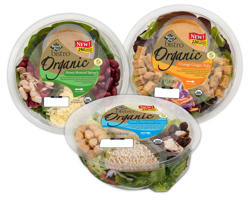 The three new single-serve Ready Pac Bistro® Organic Bowl Salads.  (PRNewsFoto/Ready Pac Foods, Inc.)