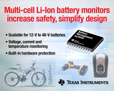 Industry's first scalable, multi-cell battery monitors significantly improve battery pack safety and simplify design of 12-V to 48-V lithium batteries used in e-bikes, power tools and energy storage systems. Texas Instruments' new bq76920, bq76930 and bq76940 circuits efficiently protect and control 3- to 15-cell batteries when charging or operating in harsh environment conditions.