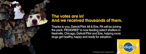 Dog Lovers Voted: Detroit/Flint, Mich. And Erie, Pa. Join The PEDIGREE(R) Feeding Project.  (PRNewsFoto/PEDIGREE Brand)