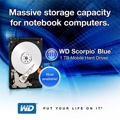 WD(R) Slims 1 TB Hard Drive To Fit Mainstream Notebooks.  (PRNewsFoto/Western Digital Technologies)