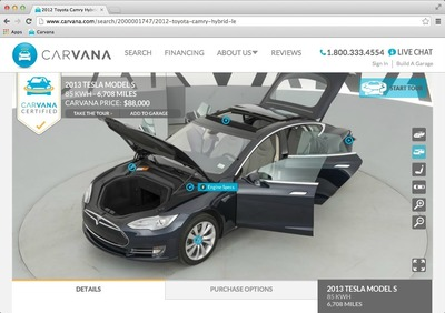 2013 Tesla Model S on Carvana.com  (PRNewsFoto/Carvana)