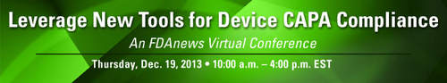 FDAnews Virtual Conference: Leverage New Tools for Device CAPA Compliance, Dec. 19.  (PRNewsFoto/FDAnews)