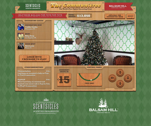 Visit THECOMMUNITREE.COM to take part in the world's first charitable online tree decorating event.  (PRNewsFoto/ScentSicles Scented Ornaments/Balsam Hill)