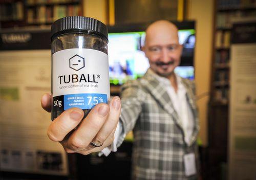 Yuri Koropachinsky, President, OCSiAl Group, demonstrating Tuball, the world's first commercially viable ...