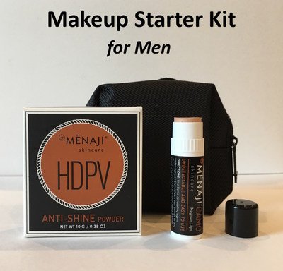 MENAJI's Makeup Starter Kit for Men takes the difficulty and embarrassment out of finding products to cover up blemishes and control shine. Non-makeup-y, virtually undetectable, natural-looking skin - every day.