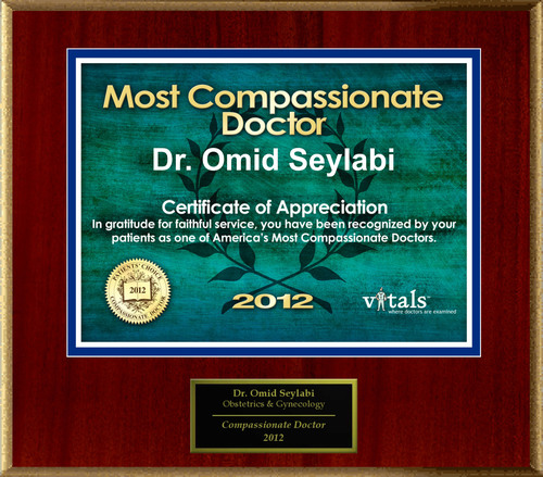 Patients Honor Dr. Omid Seylabi for Compassion.  (PRNewsFoto/American Registry)