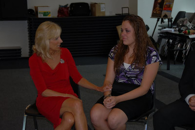 U.S. Army photo by Spc. Chasity Johnson, Illinois National Guard Public Affairs Office/Second Lady Dr. Jill Biden comforts Angela Hornbeck, who explained the obstacles she faced when her father, Illinois Army National Guard Soldier Sgt. 1st Class William Hornbeck, deployed overseas. Hornbeck participated in a June 16 forum hosted by The Chicago School of Professional Psychology in Chicago in collaboration with the Illinois National Guard, as a part of Biden and First Lady Michelle Obama's Joining Forces Initiative.  (PRNewsFoto/The Chicago School of Professional Psychology)
