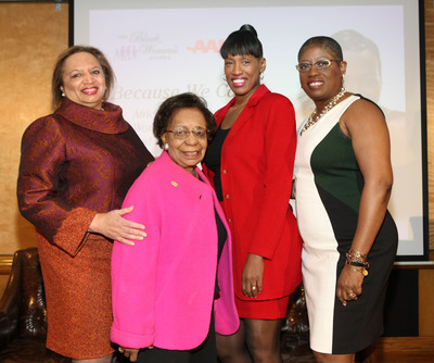 Because They Care - Jackie Joyner-Kersee (2nd right), three-time Olympic champion and youth and family advocate, joined The Black Women's Agenda, Inc. (BWA) and AARP in New York to launch a series of forums designed to inform and support family caregivers. Pictured here with Joyner-Kersee are (l to r): Gwen Hess, national president, The Black Women's Agenda; Dr. Marcella Maxwell, a BWA Board Member, and Dionne Polite, AARP's Associate State Director for Multicultural Initiatives.  (PRNewsFoto/The Black Women's Agenda, Inc.)