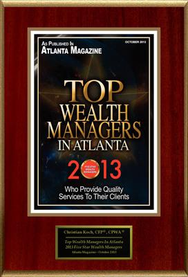 "Christian G. Koch, CFP(R), CPWA(R) Selected For ""Top Wealth Managers In Atlanta."" (PRNewsFoto/American Registry)"