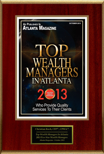"""Christian G. Koch, CFP(R), CPWA(R) Selected For """"Top Wealth Managers In Atlanta."""" (PRNewsFoto/American ..."""