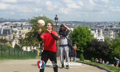World favourite football freestyler Sean Garnier films for Hisense in Paris
