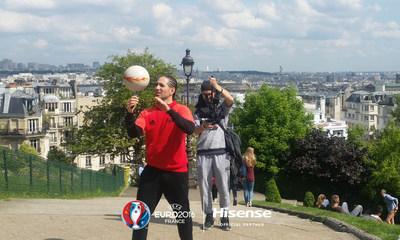 World favourite football freestyler Sean Garnier films for Hisense in Paris