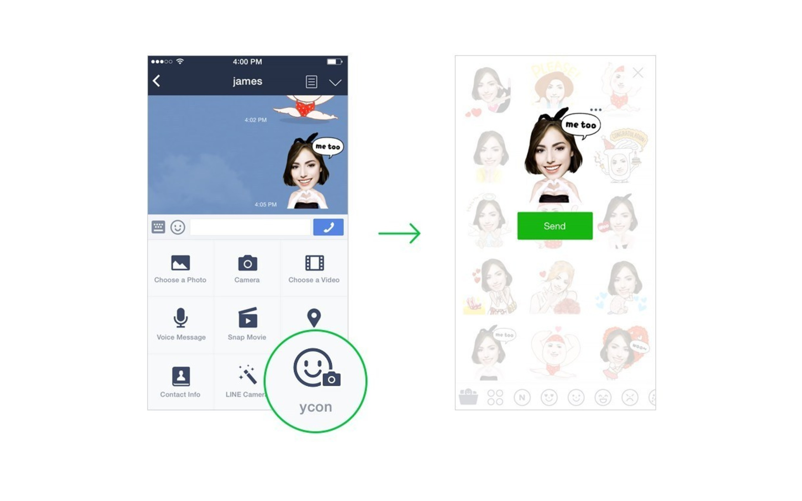 Access created stickers from LINE chats