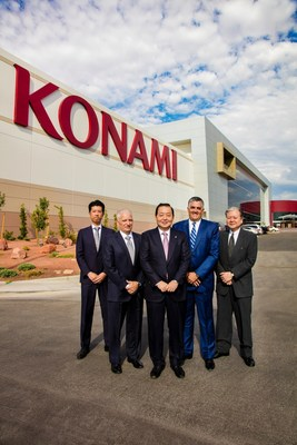 Konami Gaming, Inc.'s executive leadership team stands alongside the completed expansion of its Las Vegas headquarters