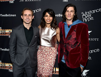 "LOS ANGELES, CA - FEBRUARY 04: (L-R) Actors Caine Sinclair, Freida Pinto, and William Spencer arrive at the world premiere of ""Two Bellmen Two"" at JW Marriott Los Angeles at L.A. LIVE on February 4, 2016 in Los Angeles, California. (Photo by Lester Cohen/WireImage)"