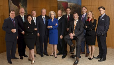 Twelve attorneys from the Dallas and Houston offices of the trial and appellate law firm of Godwin Lewis PC were included on the 2014 Texas Super Lawyers listing. They are, from left, Jerry C. von Sternberg, R. Alan York, Michelle M. O'Neil, Gavin E. Hill, Donald E. Godwin, Marilea Lewis, Bruce W. Bowman Jr., Shawn M. McCaskill, Lon M. Loveless, Floyd R. Hartley Jr., Gwen E. Richard, and Sean W. Fleming. (PRNewsFoto/Godwin Lewis PC)