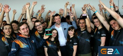 G2A Global Customer Support Team, headed by Jacek Chmielecki with their two Stevie Awards won in 2016 in Las Vegas, USA (PRNewsFoto/G2A.com)