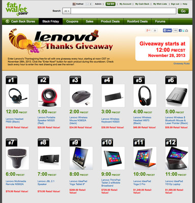 Win one of 12 Lenovo products featuring tablets and laptops during FatWallet.com's Thanks Giveaway!  (PRNewsFoto/FatWallet)
