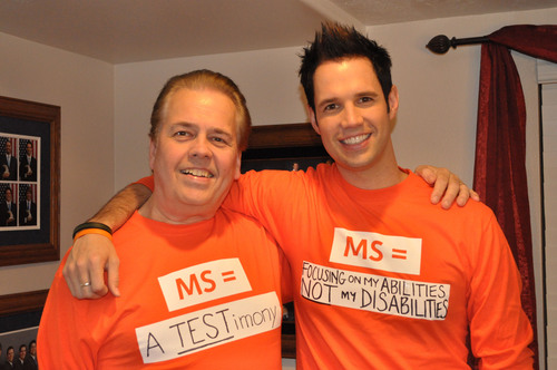 "HOW DO YOU PUT A FACE ON MS - FIND OUT DURING MS AWARENESS WEEK, MARCH 14 - 20, 2011. March 14, 2011, New York, NY -- Alan Osmond, and his son David, both of whom have multiple sclerosis, support MS Awareness Week -- March 14-20 -- and the National MS Society's ""MS Equals"" campaign in order to help put a face on an unpredictable disease that affects each person differently. For more information visit: www.nationalMSsociety.org.(PRNewsFoto/National Multiple Sclerosis Society)"