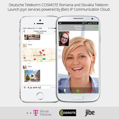Deutsche Telekom's COSMOTE Romania and Slovakia TelekomLaunch joyn services powered by Jibe's IP Communication Cloud. (PRNewsFoto/Jibe Mobile)