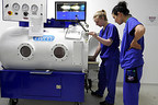 Veterinary Technicians at Fitzpatrick Referrals train on the new Hyperbaric Veterinary Medicine chamber, the first of its kind in the UK.