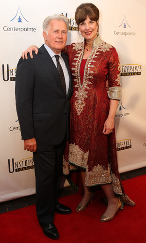 Unstoppable Foundation CEO and Founder Cynthia Kersey with Martin Sheen, on the red carpet at the 2014 ...