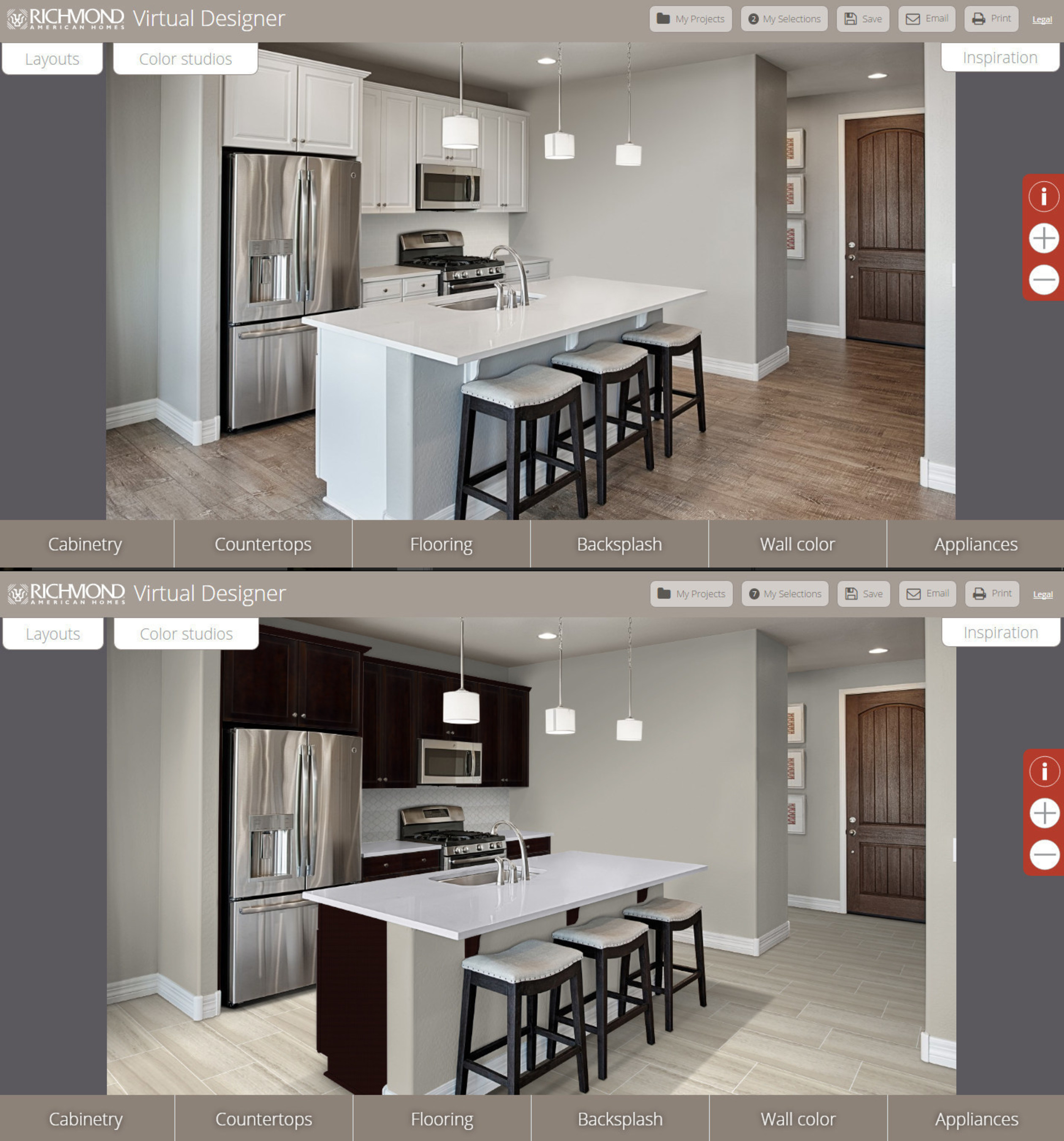 Two virtual kitchens showcase a variety of personalization options.