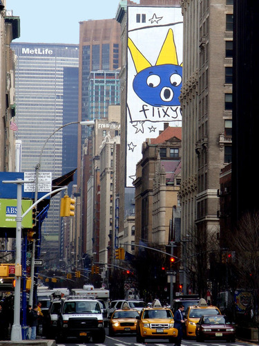 Max and the Flixy Cats are wowed by Park Avenue, expressed on Max's face, the largest painted mural in NYC ...