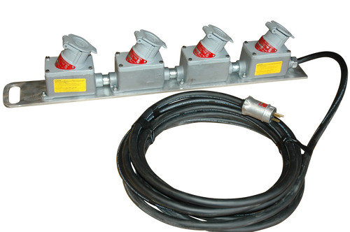 The Magnalight EPEXC-4X-25 Explosion Proof extension cord allows operators to safely extend the range of their explosion proof light or equipment cords beyond the boundaries of the hazardous work area. These units are constructed of 25 feet of 14/3 SOOW explosion proof cord and are rated at 20 amps of continuous service. The cord is chemical and abrasion resistant and comes with four inline, 20 amp, explosion proof receptacles installed on one end and a standard explosion proof plug installed on the other end.  (PRNewsFoto/Larson Electronics)