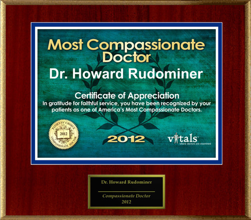 Patients Honor Dr. Howard Rudominer, M.D. for Compassion.  (PRNewsFoto/American Registry)