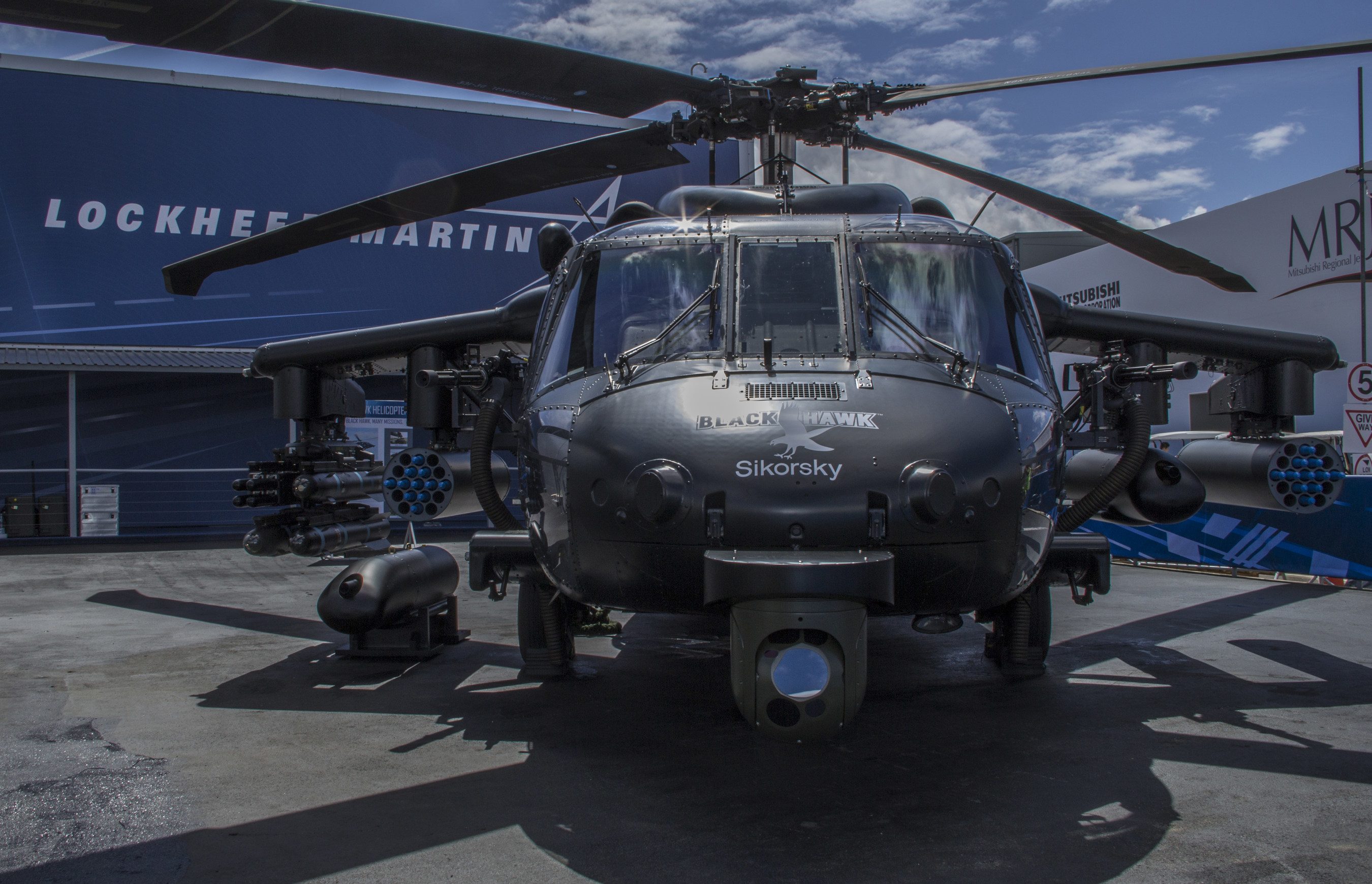 A European-built BLACK HAWK helicopter on display at the Farnborough International Airshow showcases weapons that can be integrated onto the multirole aircraft. Now we can configure an armed helicopter to the specific preferences of current and future customers.