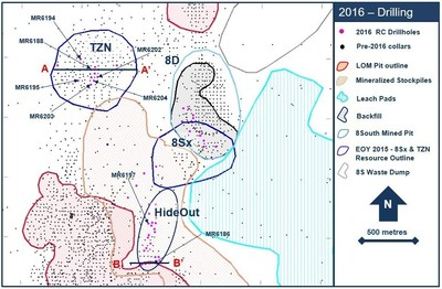 Figure 1. Drillhole location plan map for the 2016 exploration drill program at the Marigold mine, Nevada, U.S.
