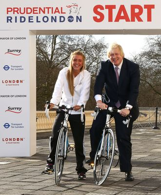 Prudential RideLondon announcement - Boris Johnson & Laura Trott (PRNewsFoto/Prudential RideLondon)