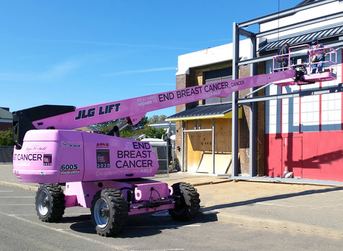 Pictured: ABLE Equipment Rental's, Reaching Higher To End Breast Cancer Pink Construction Boom - on the job at the Nassau County Firefighter's Museum in Garden City, NY.  Partnership Between ABLE Equipment Rental and The National Breast Cancer Coalition's, Breast Cancer Deadline 2020(R) Raises Awareness With The Use Of A 60 foot Reaching Higher To End Breast Cancer Pink Construction Boom.  A percentage of revenue generated from the use of the boom will be donated to the National Breast Cancer Coalition's, Breast Cancer Deadline 2020(R) (PRNewsFoto/ABLE Equipment Rental)