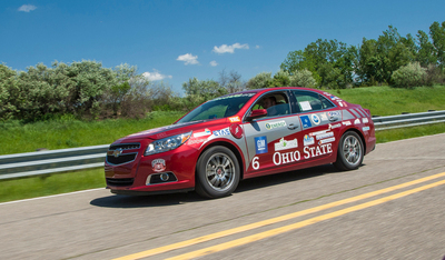Today, the U.S. Department of Energy and General Motors Co. announced the winning team of the competition, The Ohio State University, as they took home the overall winners title at the EcoCAR 2: Plugging In to the Future finals.  The team's exceptionally engineered 2013 Chevrolet Malibu with energy storage, electric drive and ethanol (E85) fueled engine technology, earned them the top honor. (PRNewsFoto/Argonne National Laboratory)