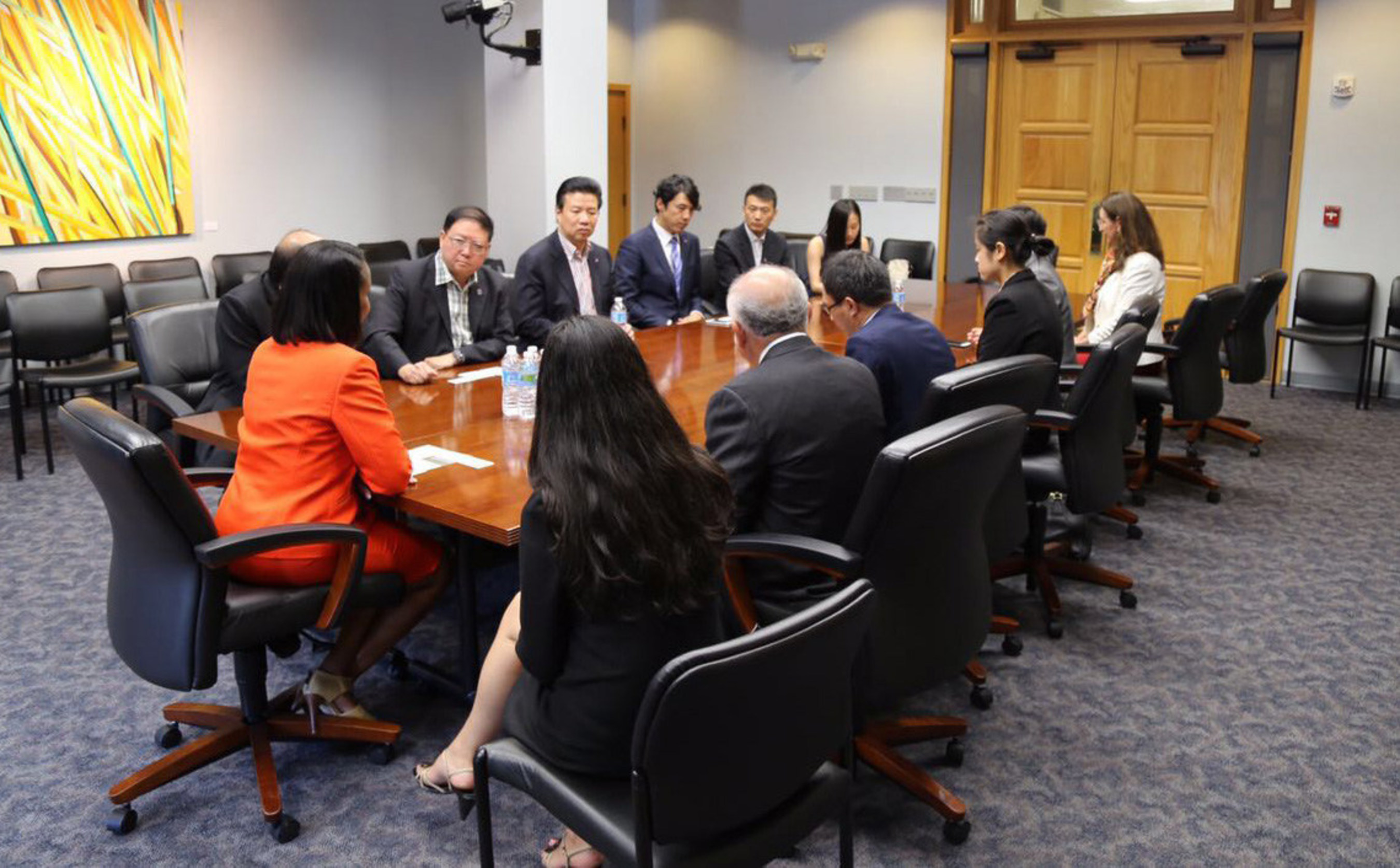 Members of the delegation discuss their projects with Mayor of San Antonio Ivy R. Taylor