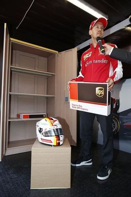 Sebastian Vettel picks up some important items from UPS before the Canadian Grand Prix (PRNewsFoto/UPS)