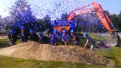 Confetti surprised the team members as they officially broke ground. (PRNewsFoto/Lavallee Brensinger Architects)