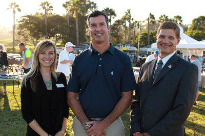 Pictured at the OppenheimerFunds volunteer activity are Lauren David, Corporate and Community Development Coordinator at Ronald McDonald House; John McDonough, Head of Distribution at OppenheimerFunds; and Tony Teravainen, President and CEO of Support the Enlisted Project. OppenheimerFunds employees stuffed teddy bears and assembled wheelchairs to support the San Diego organizations.