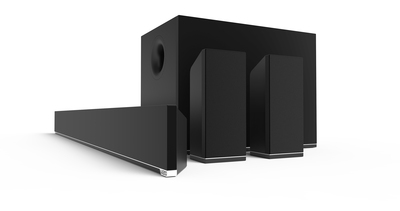 """54"""" 5.1 Channel Sound Bar Flagship Offering To Be Accompanied by 38"""" 5.1 Sound Bar System Ideal for Mid-Size TVs (PRNewsFoto/VIZIO, Inc.)"""