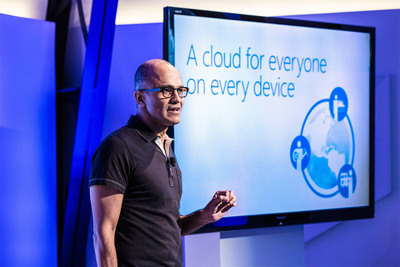 Microsoft CEO Satya Nadella announced the availability of Microsoft Office for iPad and the new Enterprise Mobility Suite at a press event in San Francisco on March 27, 2014.    (PRNewsFoto/Microsoft Corp.)