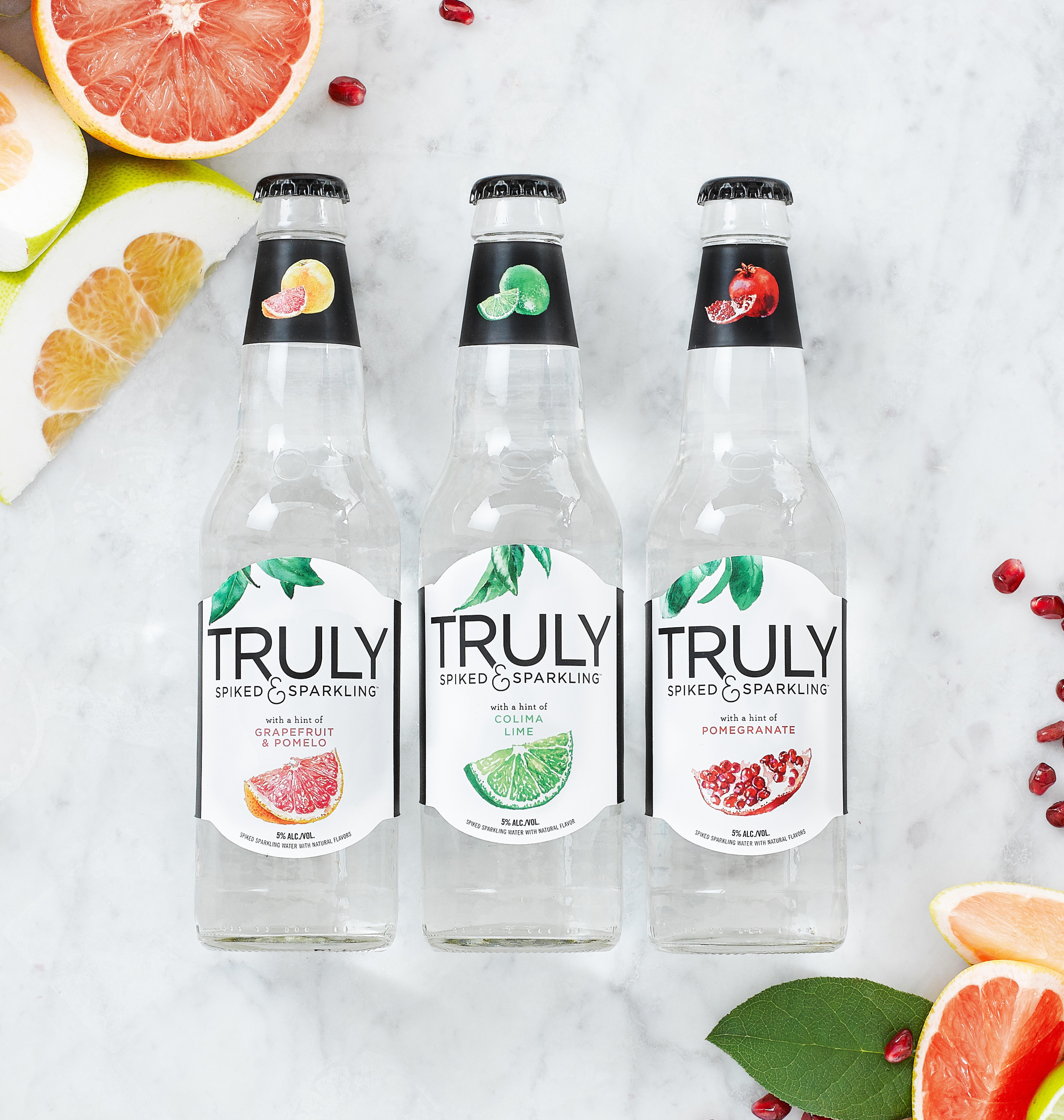 Truly Spiked & Sparkling: Colima Lime, Grapefruit & Pomelo, and Pomegranate
