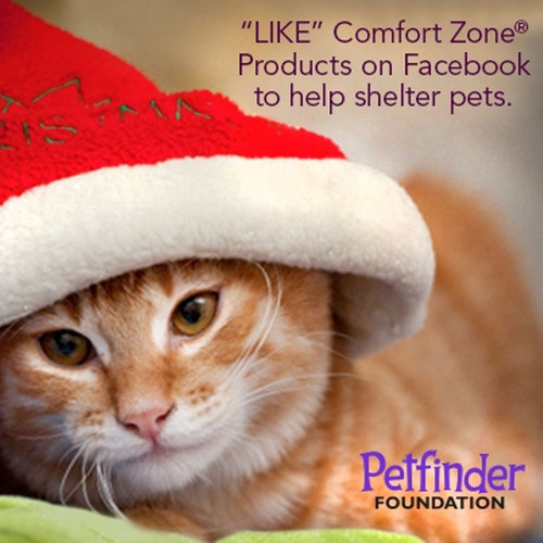 "From now through December 31, 2012, for every new ""like"" of its Facebook page, Facebook.com/ComfortZoneProducts, Comfort Zone(R) Products will donate $1 - up to $7,000 - to the Petfinder Foundation to benefit a number of Petfinder member shelters and rescue groups which help homeless pets nationwide.  (PRNewsFoto/Central Garden & Pet Company)"