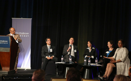 (Left to Right) Noel Massie moderates a discussion on job preparedness between Michael Stoll, Frederick Zimmerman, Alicia Lara, Leslie Aaronson and Jan Perry at the UCLA Anderson Forecast event on April 2, 2014.    (PRNewsFoto/UCLA Anderson School of Management)