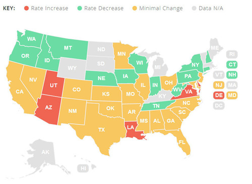 The Home Insurance RateReport offers a birds eye view of average premiums as sold by HomeInsurance.com in 2013. (PRNewsFoto/HomeInsurance.com) (PRNewsFoto/HOMEINSURANCE.COM)