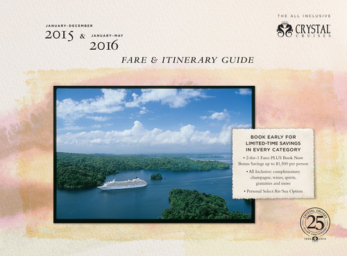 The cover of Crystal's newly released 2015-early 2016 Fare & Itinerary Guide.  (PRNewsFoto/Crystal Cruises)