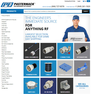Pasternack's 2014 Website Redesign. (PRNewsFoto/Pasternack Enterprises, Inc.) (PRNewsFoto/PASTERNACK ENTERPRISES, INC.)