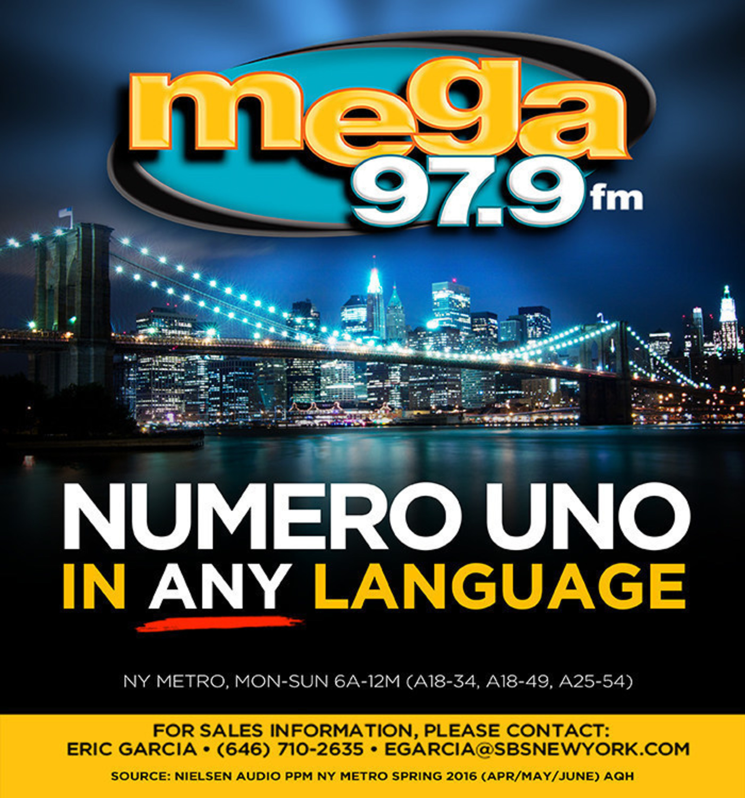 WSKQ-FM Mega 97.9FM Prevails As No.1 Hispanic Station In New York For Six Consecutive Months