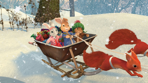 "Lily Bobtail, Peter Rabbit and Benjamin Bunny in the Nickelodeon holiday special, ""Peter Rabbit's ..."
